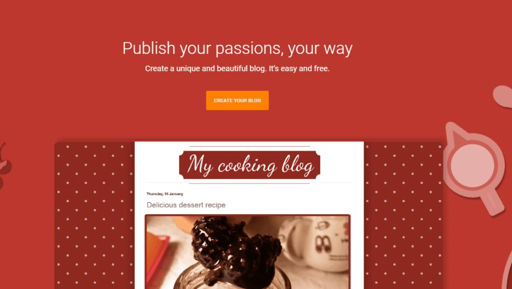 Blogger.com home page