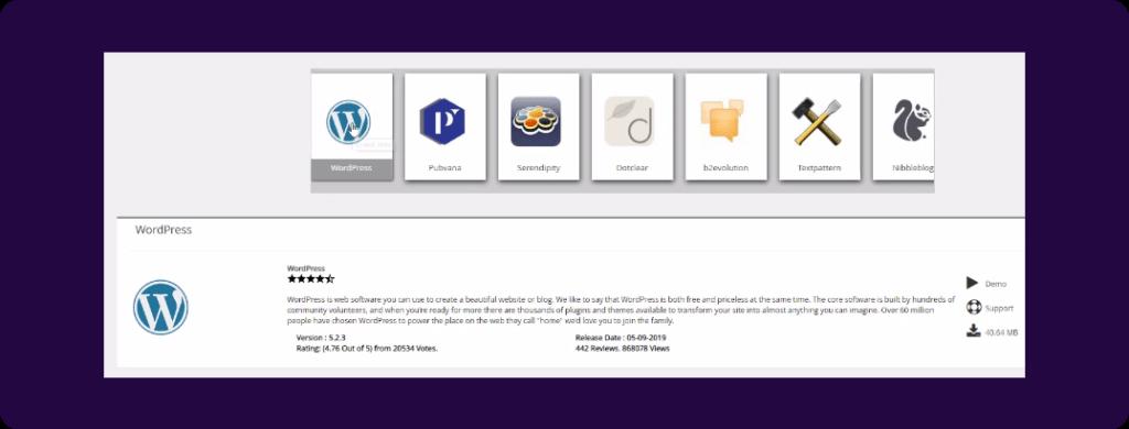 Wordpress in softaculous app installer