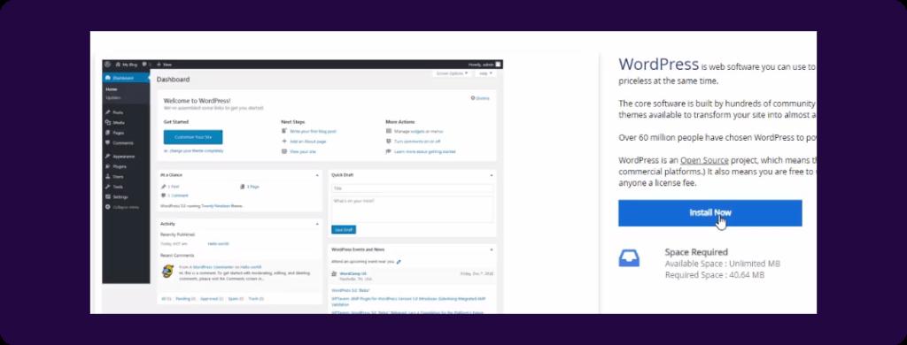 WordPress Installer in softaculous app installer