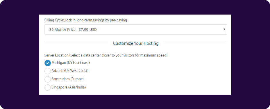 Select a2 Hosting billing cycle